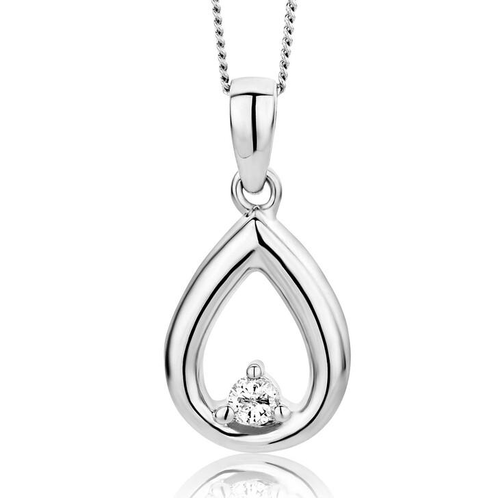 Kette, DIAMADA, 0.03ct Diamond Necklace  14KT White Gold