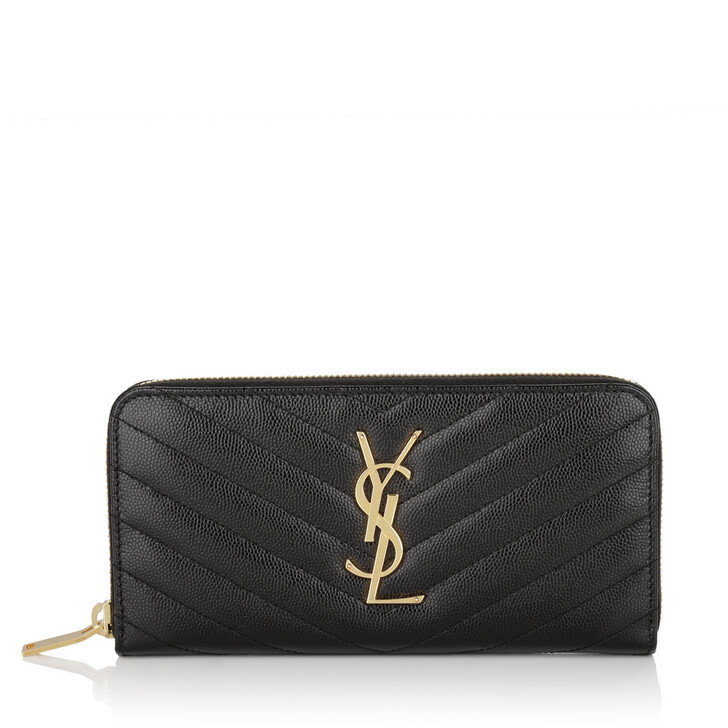 Geldbörse, Saint Laurent, Monogramme Grain De Poudre Zip Around Wallet Nero