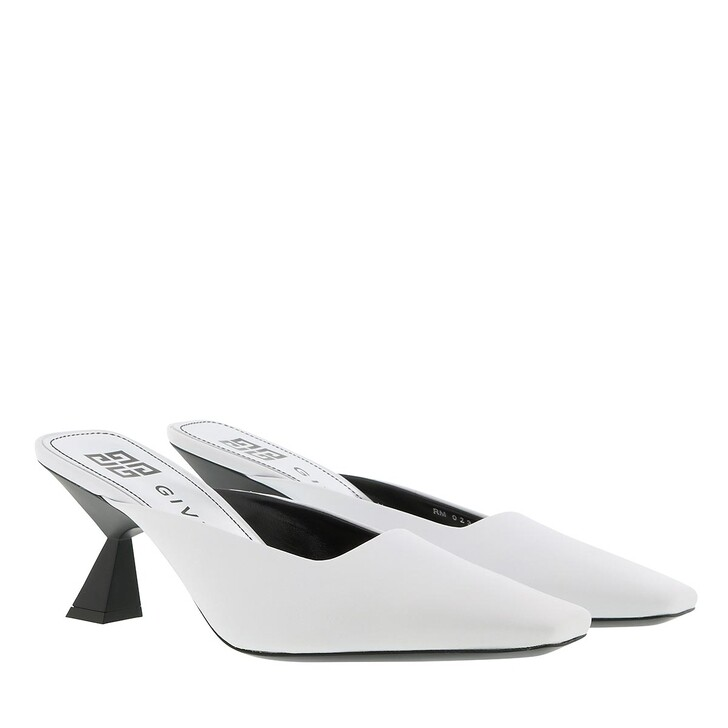 Schuh, Givenchy, Asymmetrical Heeled Mules Leather White