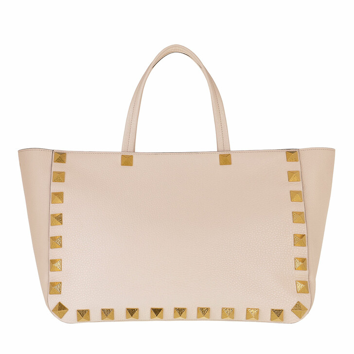 Handtasche, Valentino Garavani, Roman Stud Shopper Leather Light Ivory