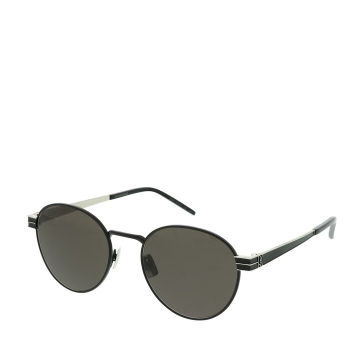Sonnenbrille, Saint Laurent, SL M62-002 52 Sunglasses Black-Silver-Black