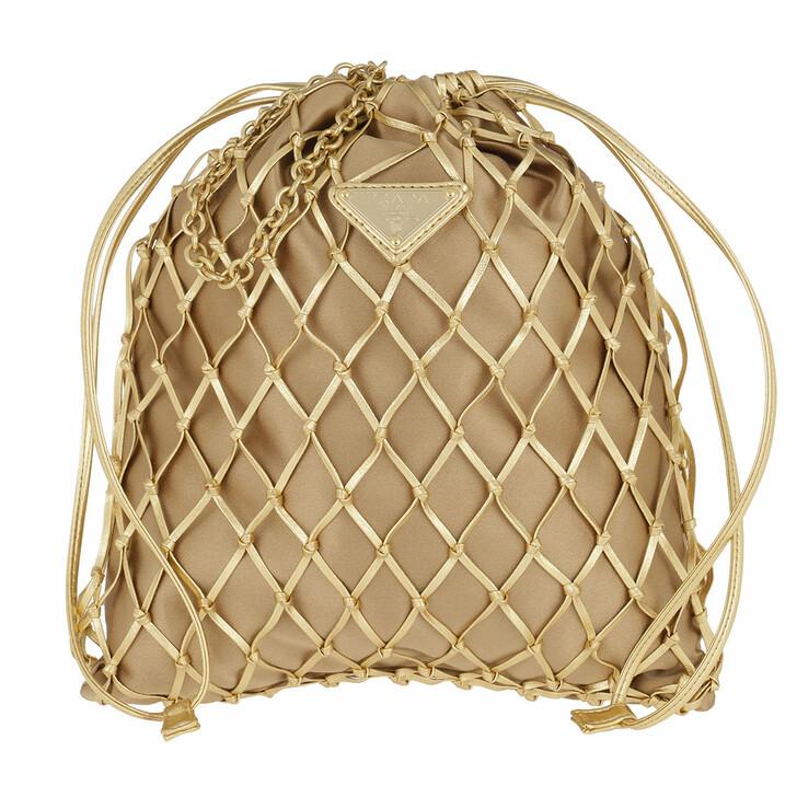 Handtasche, Prada, Mesh Satin Crossbody Bag Gold
