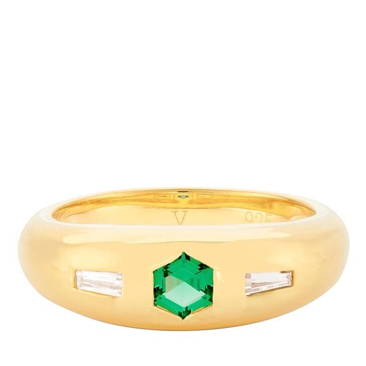 Ring, V by Laura Vann, Jada Ring Yellow Gold/Green Cubic Zirconia