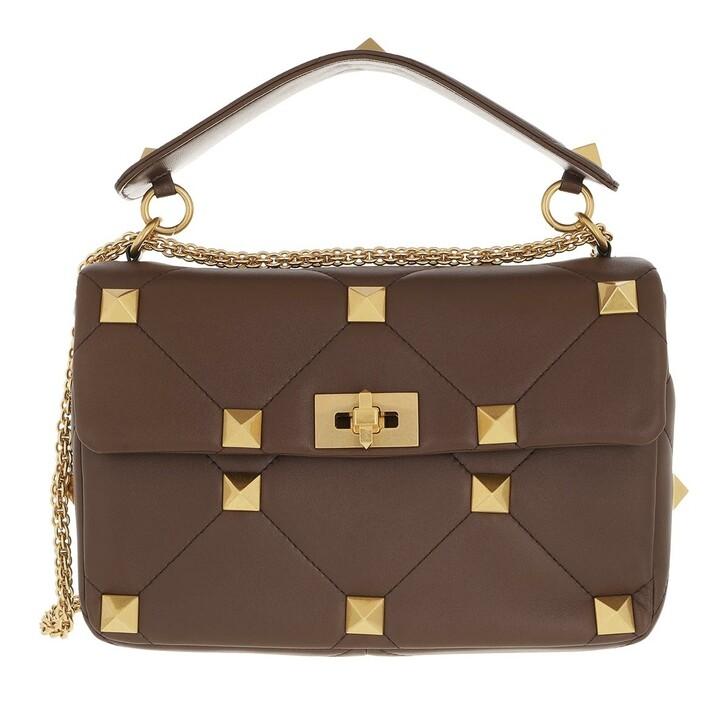bags, Valentino Garavani, Rockstud Shoulder Bag Leather Teak Brown