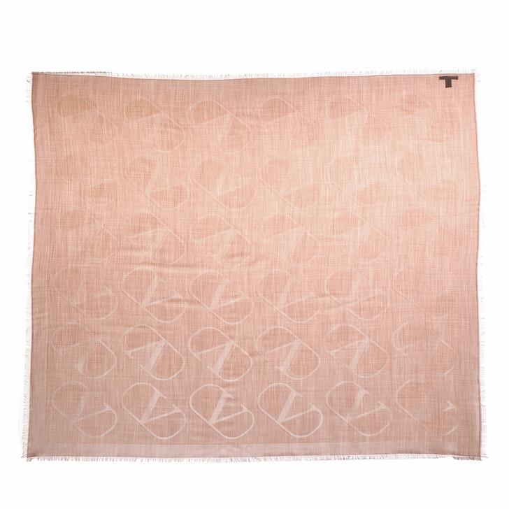 scarves, Valentino Garavani, V Logo Scarf Pastel Pink
