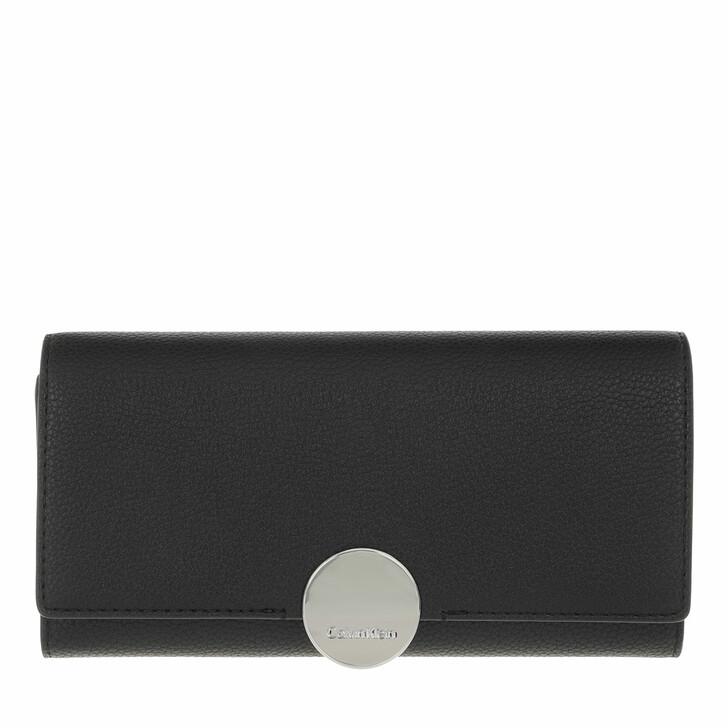 wallets, Calvin Klein, CK Luxe Trifold Large CK Black