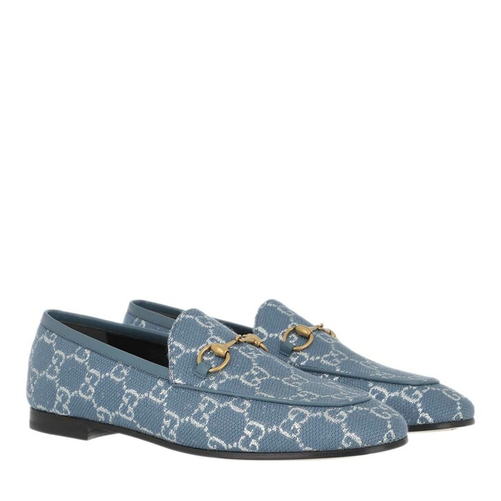 Schuh, Gucci, Jordaan Loafer GG Lamé Blue Denim