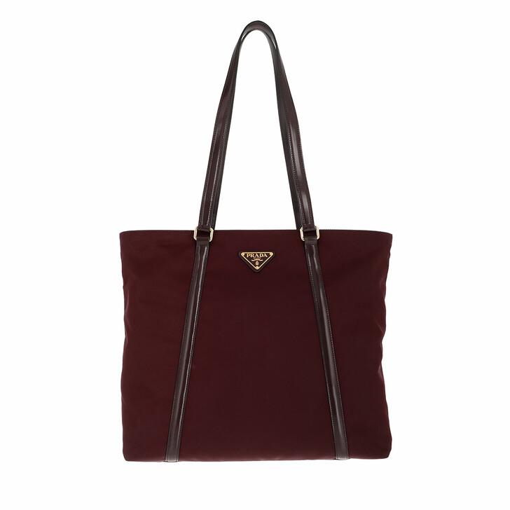 bags, Prada, Tote Bag Leather and Nylon Burgundy