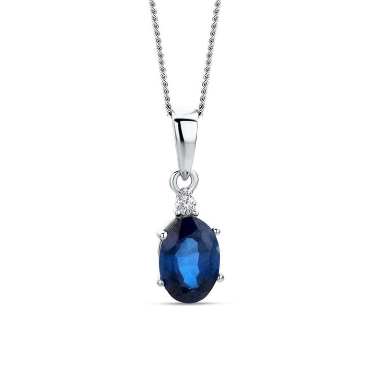 necklaces, DIAMADA, 9KT Created Sapphire - Diamond Pendant White Gold