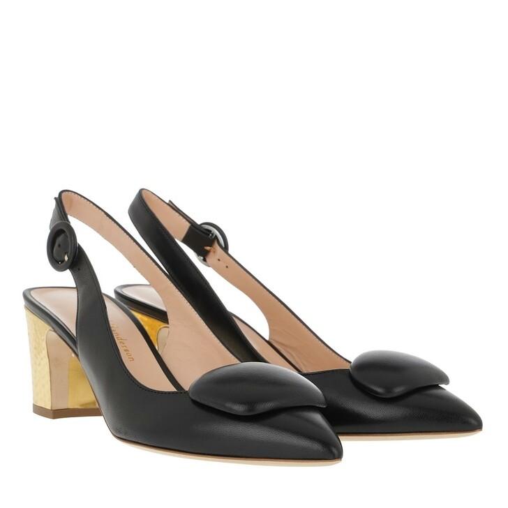 Schuh, Rupert Sanderson, Marina Mid-Heel Black/Gold