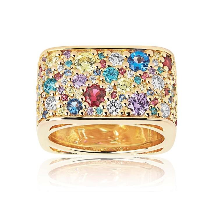 rings, Sif Jakobs Jewellery, Novara Quadrato Ring Multicoloured Zirconia Gold