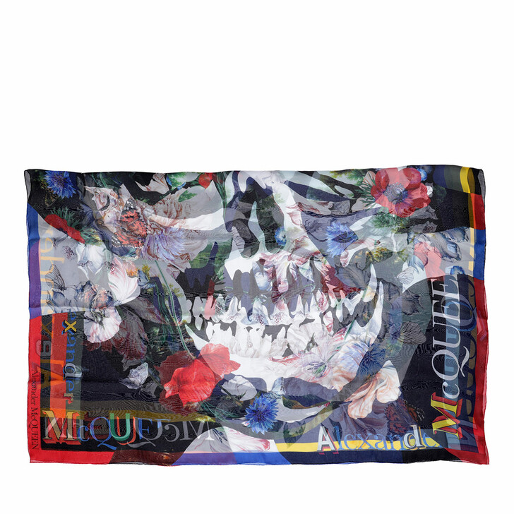 scarves, Alexander McQueen, Floral Print Shawl Navy/Red