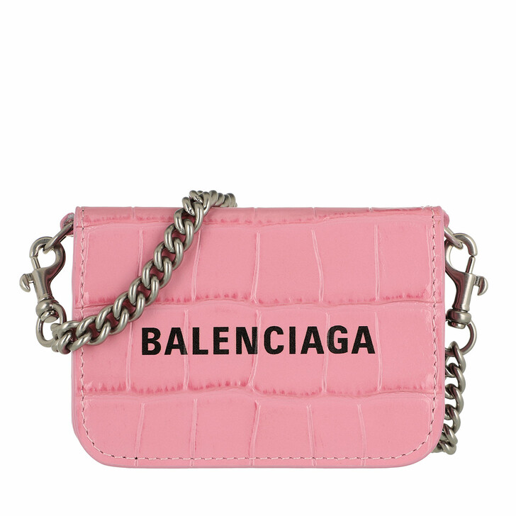 Geldbörse, Balenciaga, Logo Wallet On Chain Leather Pink