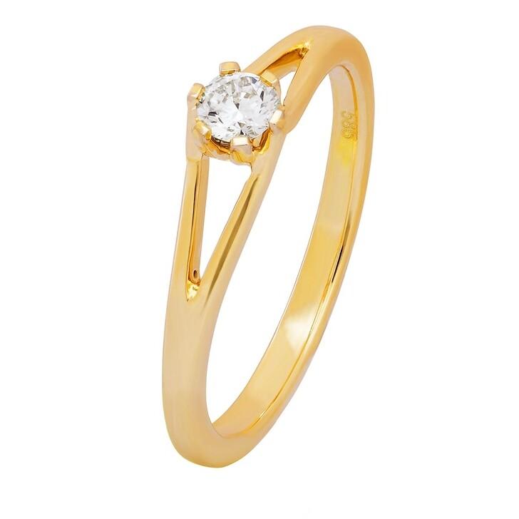 Ring, BELORO, 0,16ct Diamond Solitaire Ring Yellow Gold