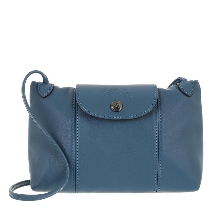 bags, Longchamp, Le Pliage Cuir Crossbody Bag Pilot Blue