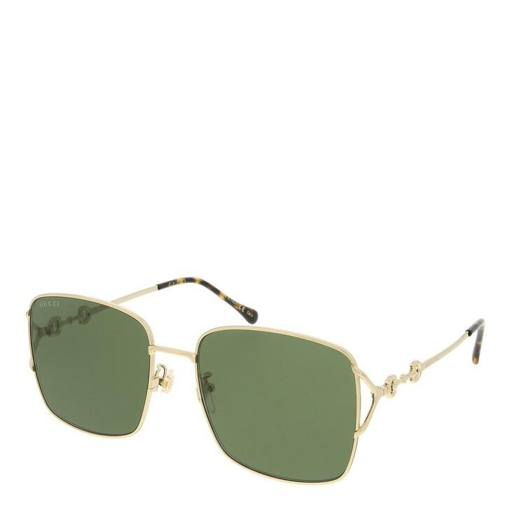 sunglasses, Gucci, GG1018SK-002 58 Sunglass Woman Metal Gold-Gold-Green