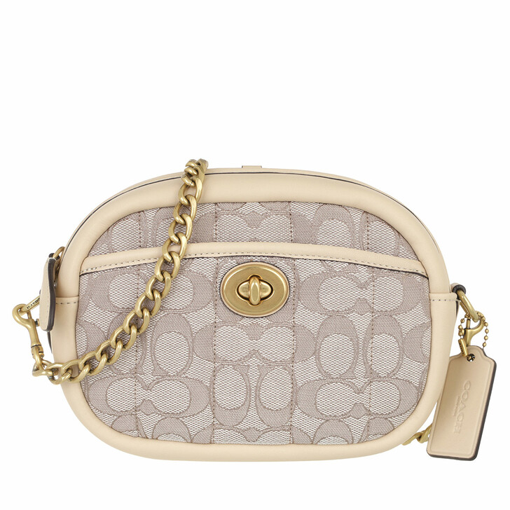 bags, Coach, Quilted Signature Jacquard Camera Bag Stone Ivory