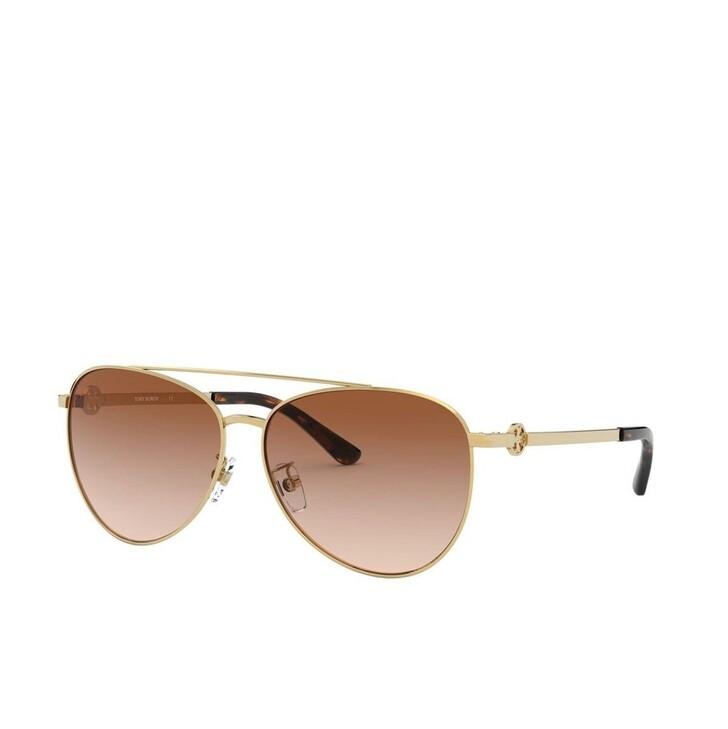 sunglasses, Tory Burch, Woman Sunglasses Metal Shiny Gold Metal