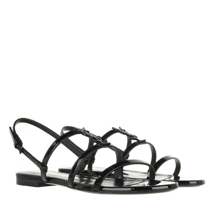 shoes, Saint Laurent, Cassandra Flat Sandals Patent Leather Black