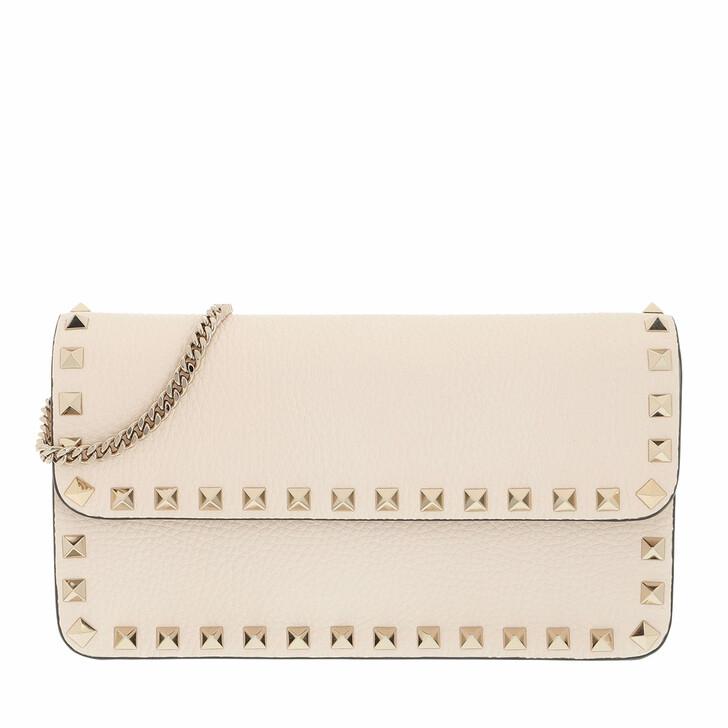 bags, Valentino Garavani, Rockstud Pouch Leather Light Ivory