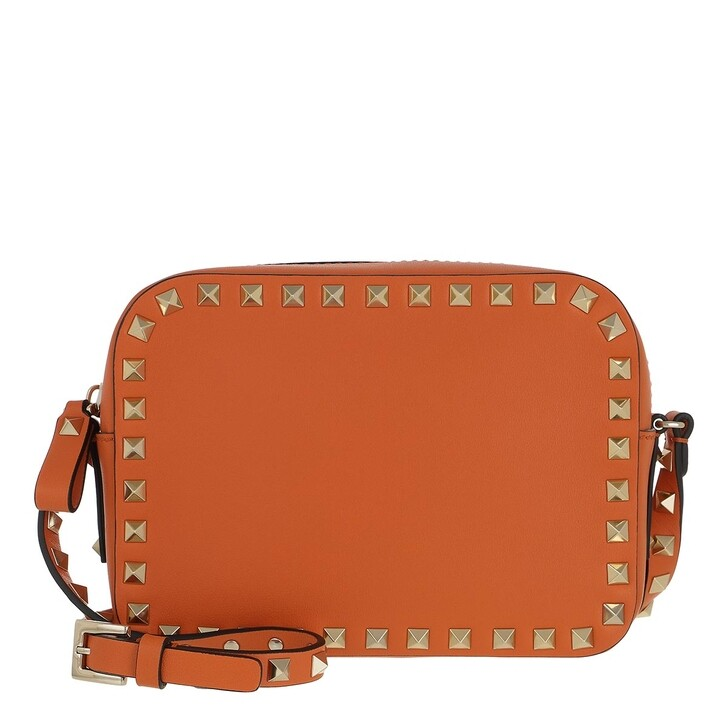 bags, Valentino Garavani, Rockstud Camera Crossbody Bag Orange Zest