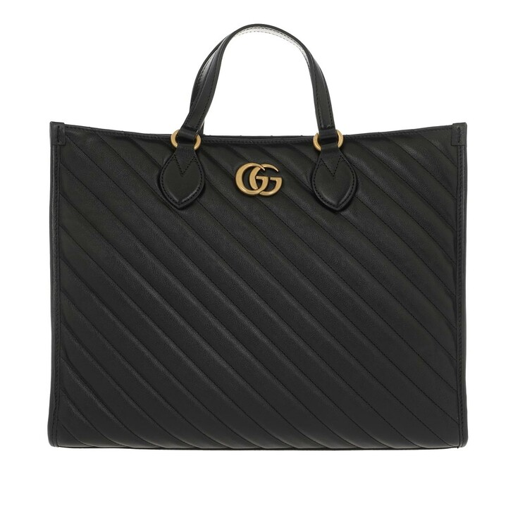 Handtasche, Gucci, Medium GG Marmont Tote Bag Leather Black