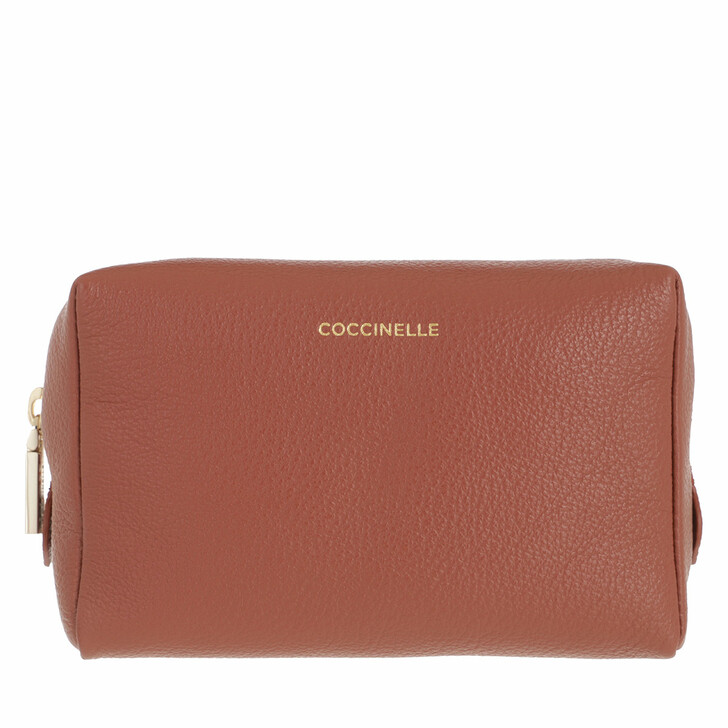 necessaires, Coccinelle, Travel Item Trousse Grained Leather Cinnamon/Chestnut/Pink