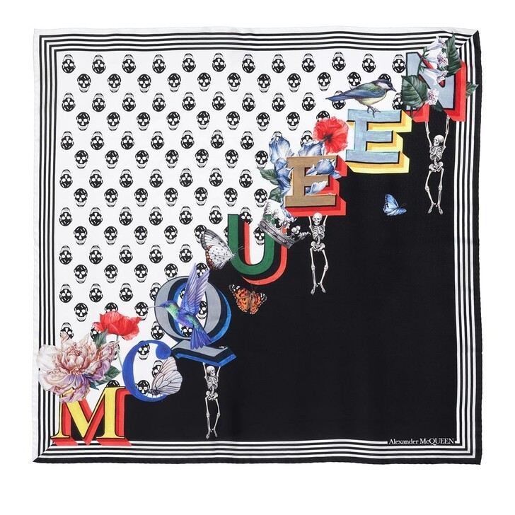 scarves, Alexander McQueen, Biker Scarf Black/Ivory