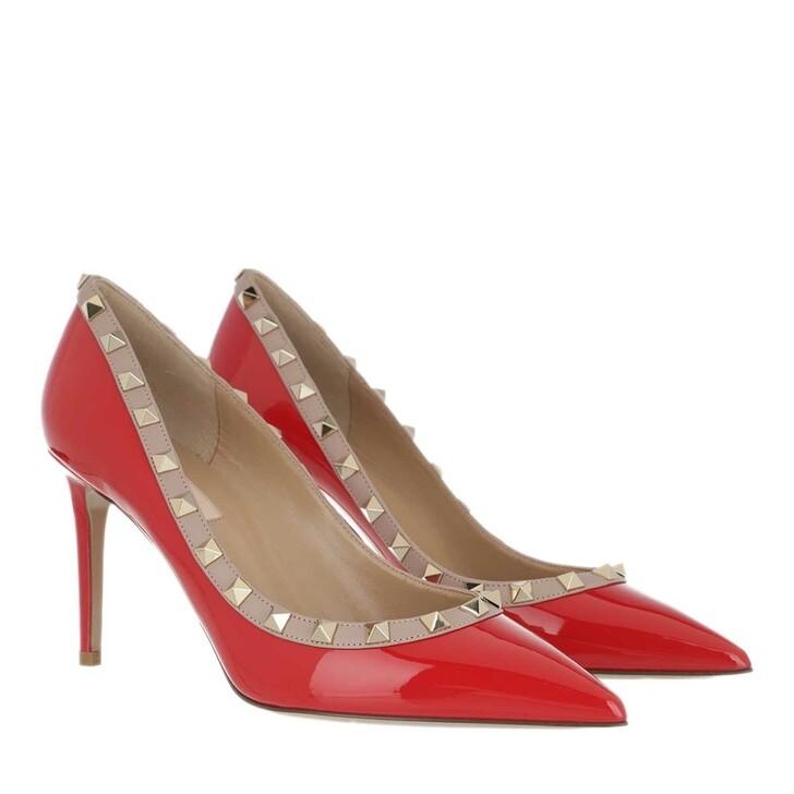 Schuh, Valentino Garavani, Rockstud Patent Pumps Red