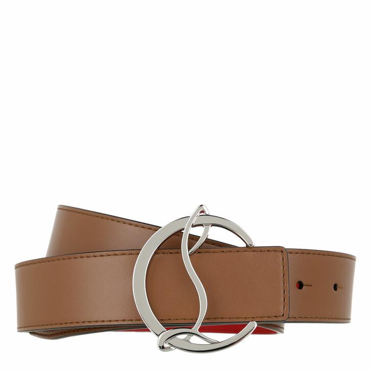 Gürtel, Christian Louboutin, CL Logo Belt Leather Nude/Silver