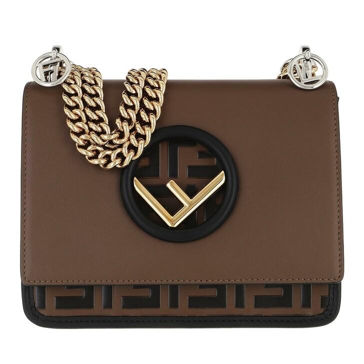 Handtasche, Fendi, Kan I F Small Crossbody Bag Leather Brown