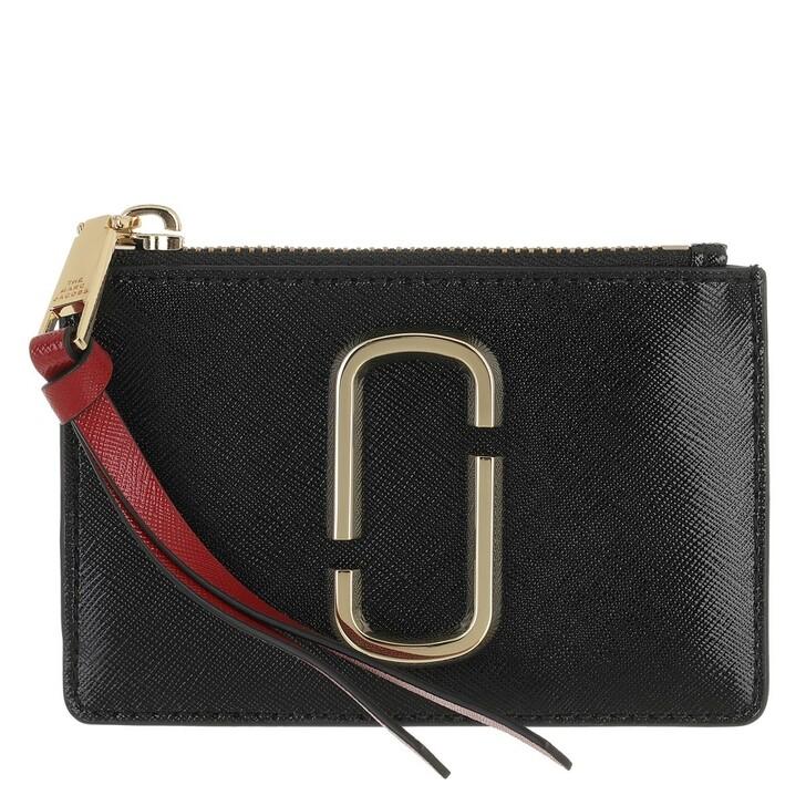 Geldbörse, Marc Jacobs, The Snapshot Top Zip Wallet Leather Black/Chianti