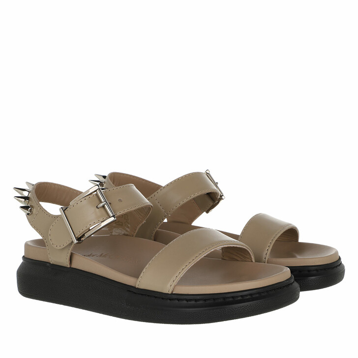 shoes, Alexander McQueen, Stud Sandals Leather Beige