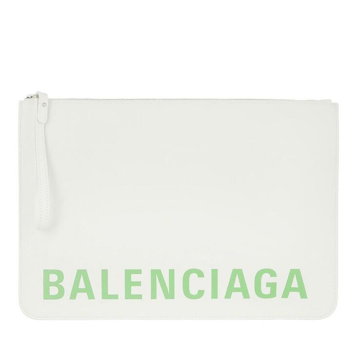 Handtasche, Balenciaga, Logo Clutch Leather White Green