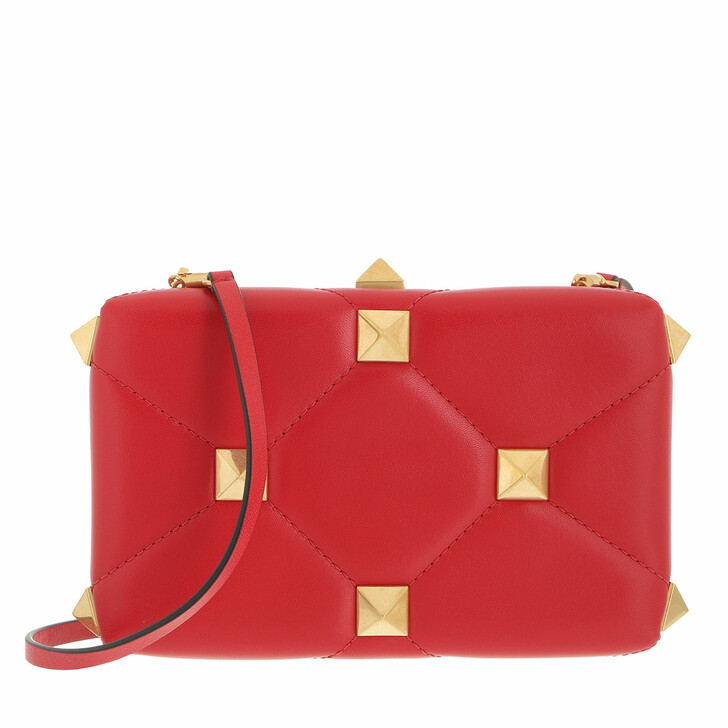 bags, Valentino Garavani, Roman Stud Clutch Nappa Rouge Pur