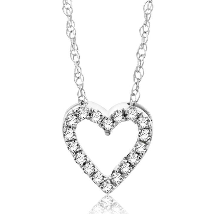 Kette, DIAMADA, 0.087ct Diamond Heart Necklace  18KT White Gold