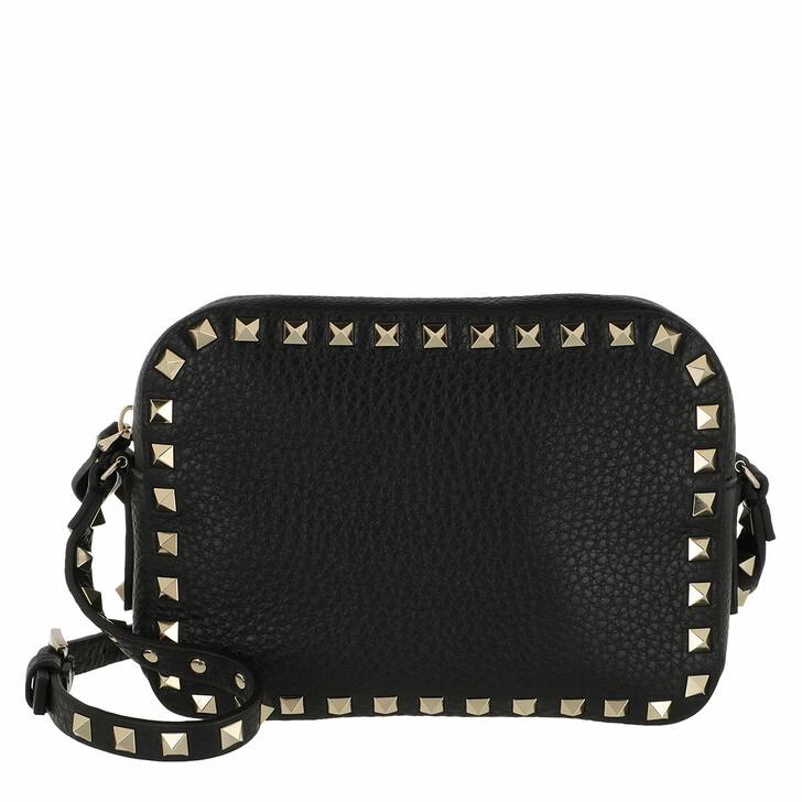bags, Valentino Garavani, Rockstud Camera Crossbody Bag Black
