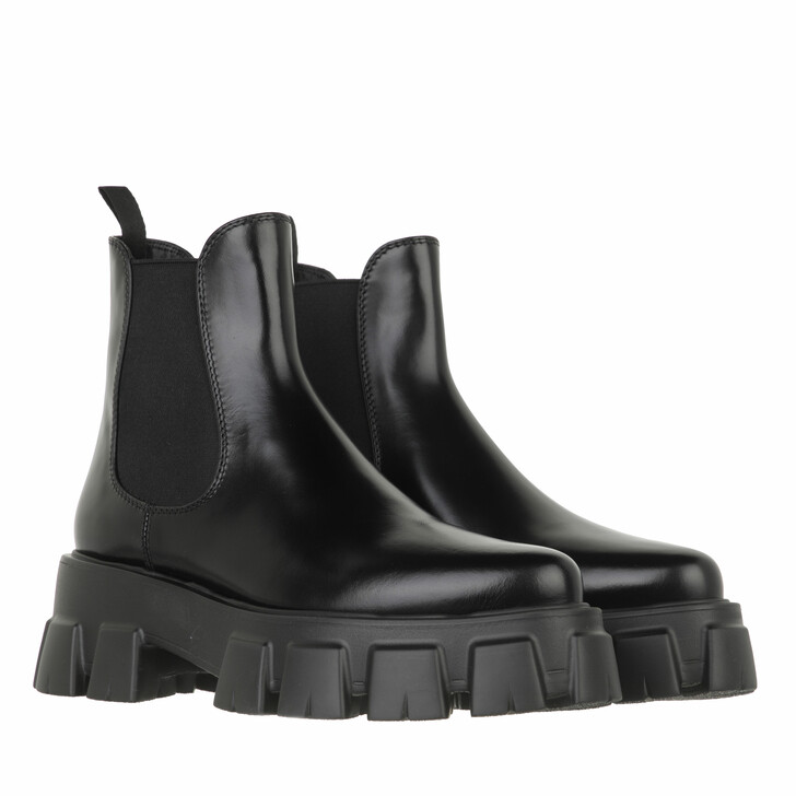 shoes, Prada, Chunky Chelsea Boots Leather Black