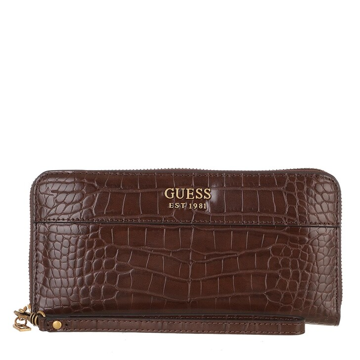 wallets, Guess, Katey Slg Large Zip Around Brown