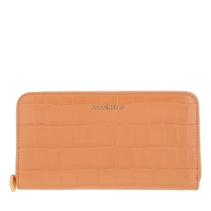 wallets, Coccinelle, Metallic Croco Shiny Soft Wallet  Almond