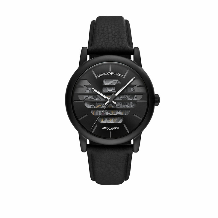 Uhr, Emporio Armani, Men Three-Hand Leather Watch Black