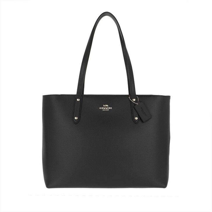 Handtasche, Coach, Polished Pebble Leather Central Tote Black