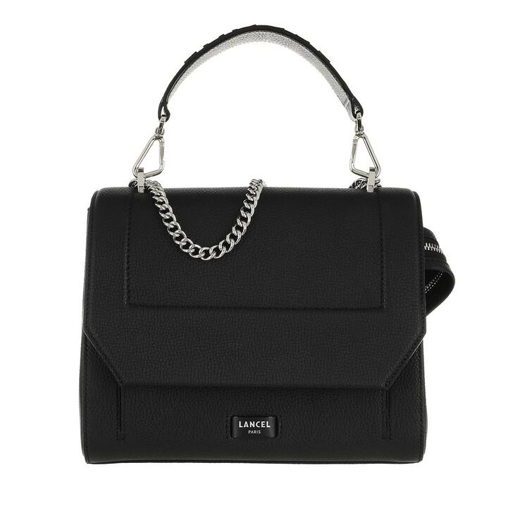 Handtasche, Lancel, Ninon Grained Leather Flap Bag Medium Black
