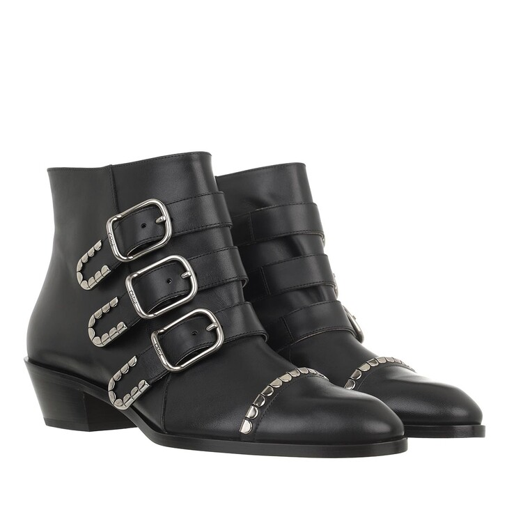 shoes, Chloé, Idol Buckle Detailed Ankle Boots Black