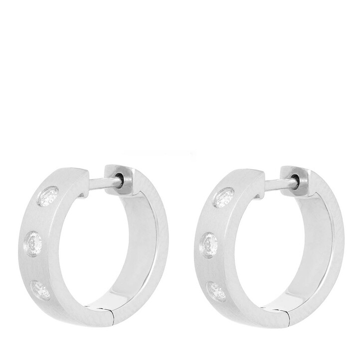 earrings, VOLARE, Earring Hoops 6 Brill ca. 0,20 Platinum