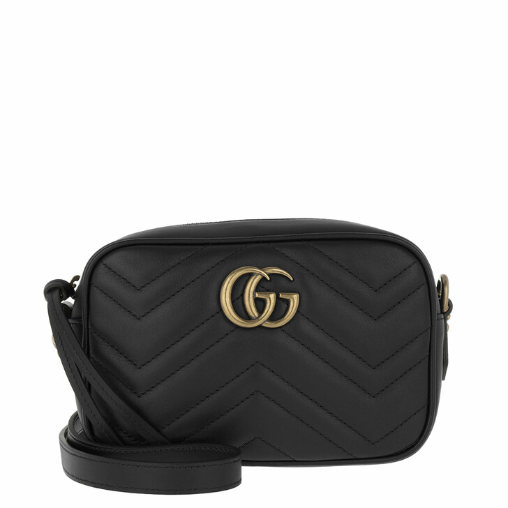 bags, Gucci, GG Marmont Matelassé Mini Bag Black