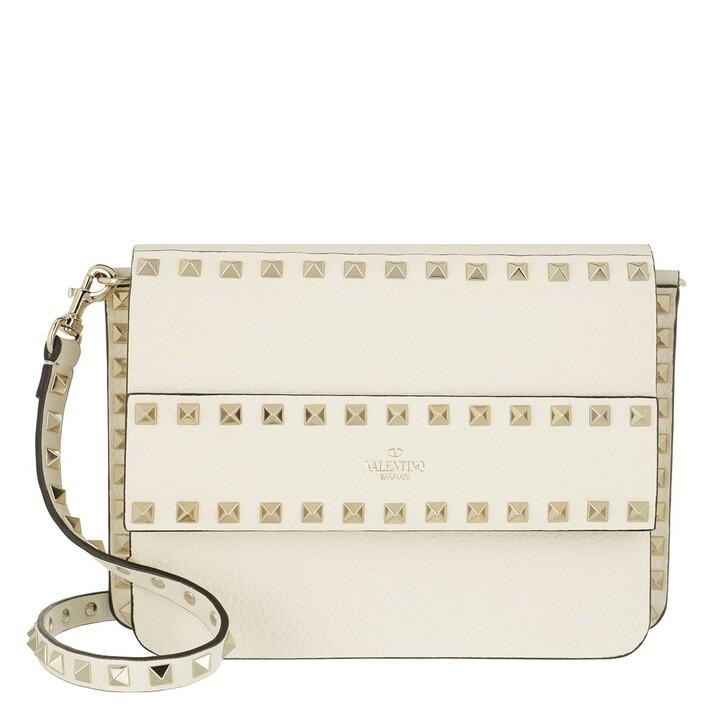 Handtasche, Valentino, Rockstud Shoulder Bag Leather Light Ivory