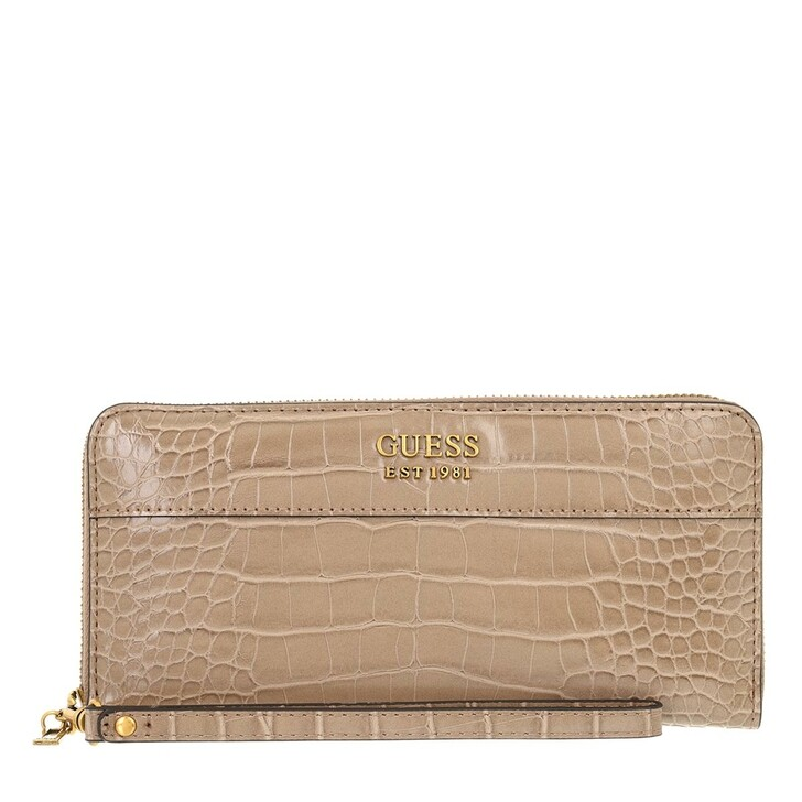 wallets, Guess, Katey Slg Large Zip Around Light Rum