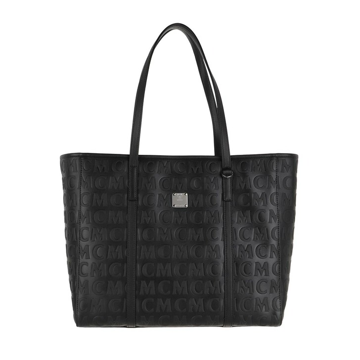 Handtasche, MCM, Medium Toni Shopper Leather Black Black