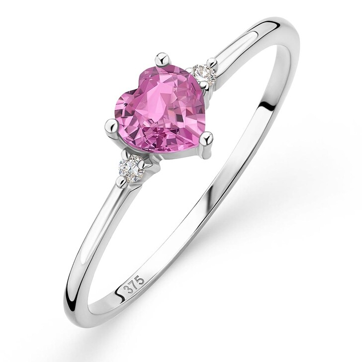rings, DIAMADA, 9K Ring with Diamond and Sapphire White Gold and Natural Pink